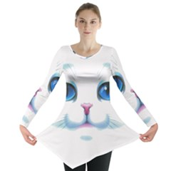 Cute White Cat Blue Eyes Face Long Sleeve Tunic