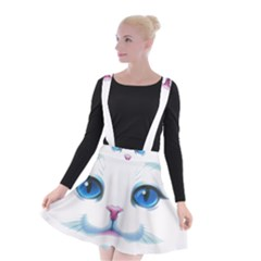 Cute White Cat Blue Eyes Face Suspender Skater Skirt by BangZart