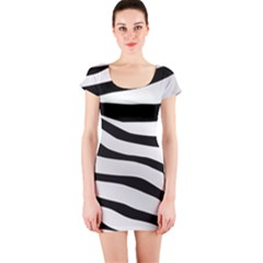 White Tiger Skin Short Sleeve Bodycon Dress