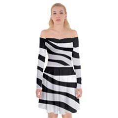 White Tiger Skin Off Shoulder Skater Dress