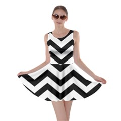 Black And White Chevron Skater Dress