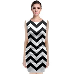 Black And White Chevron Classic Sleeveless Midi Dress