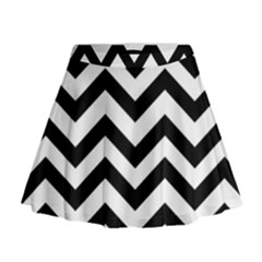 Black And White Chevron Mini Flare Skirt