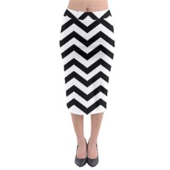 Black And White Chevron Midi Pencil Skirt