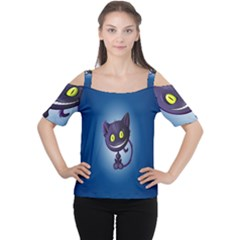 Funny Cute Cat Cutout Shoulder Tee