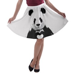 Panda Love Heart A Line Skater Skirt
