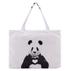 Panda Love Heart Medium Zipper Tote Bag