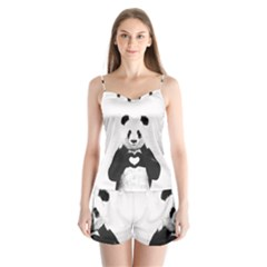 Panda Love Heart Satin Pajamas Set