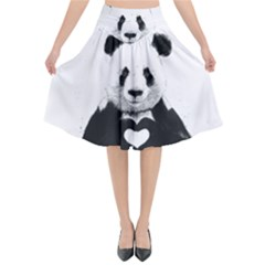 Panda Love Heart Flared Midi Skirt