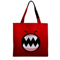 Funny Angry Zipper Grocery Tote Bag by BangZart