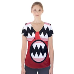 Funny Angry Short Sleeve Front Detail Top