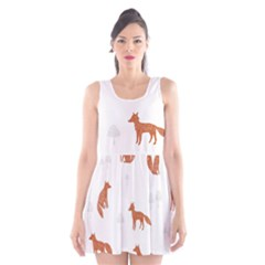 Fox Animal Wild Pattern Scoop Neck Skater Dress by BangZart