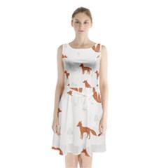 Fox Animal Wild Pattern Sleeveless Waist Tie Chiffon Dress