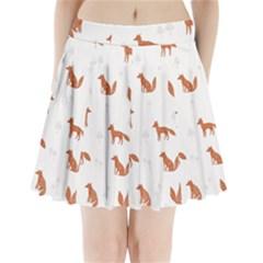 Fox Animal Wild Pattern Pleated Mini Skirt