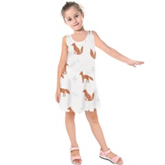 Fox Animal Wild Pattern Kids  Sleeveless Dress