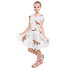 Fox Animal Wild Pattern Kids  Short Sleeve Dress