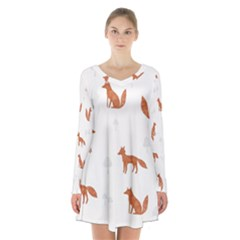 Fox Animal Wild Pattern Long Sleeve Velvet V Neck Dress