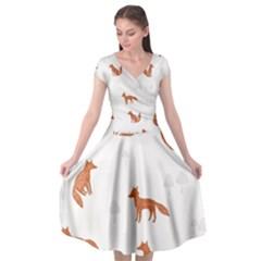 Fox Animal Wild Pattern Cap Sleeve Wrap Front Dress
