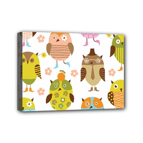 Cute Owls Pattern Mini Canvas 7  X 5  by BangZart