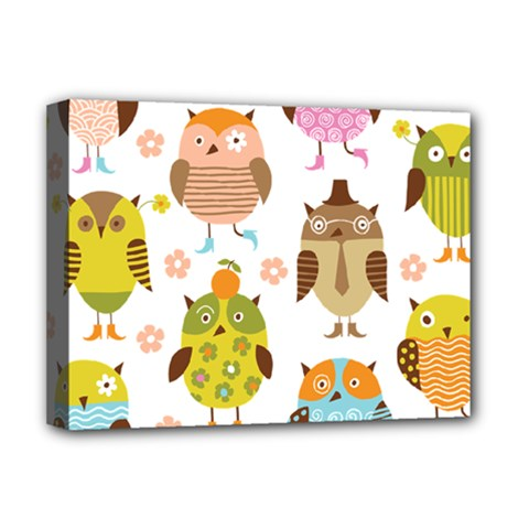 Cute Owls Pattern Deluxe Canvas 16  X 12