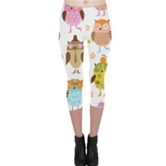 Cute Owls Pattern Capri Leggings