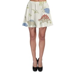 Dinosaur Art Pattern Skater Skirt