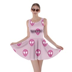 Alien Pattern Pink Skater Dress