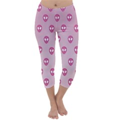 Alien Pattern Pink Capri Winter Leggings