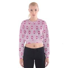 Alien Pattern Pink Cropped Sweatshirt