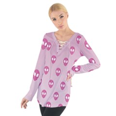 Alien Pattern Pink Tie Up Tee