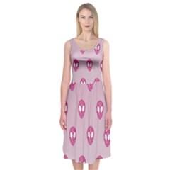 Alien Pattern Pink Midi Sleeveless Dress
