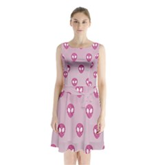 Alien Pattern Pink Sleeveless Waist Tie Chiffon Dress