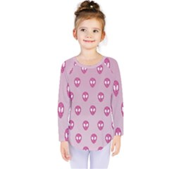 Alien Pattern Pink Kids  Long Sleeve Tee