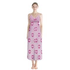 Alien Pattern Pink Button Up Chiffon Maxi Dress