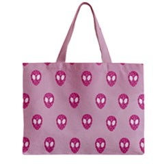Alien Pattern Pink Zipper Mini Tote Bag