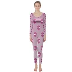 Alien Pattern Pink Long Sleeve Catsuit