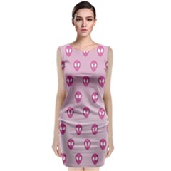 Alien Pattern Pink Classic Sleeveless Midi Dress