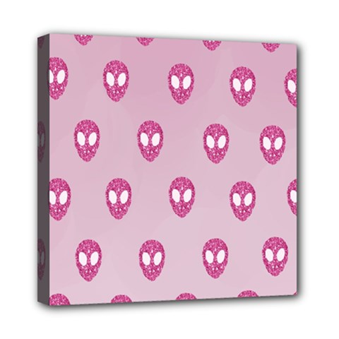 Alien Pattern Pink Mini Canvas 8  X 8  by BangZart