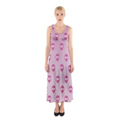 Alien Pattern Pink Sleeveless Maxi Dress
