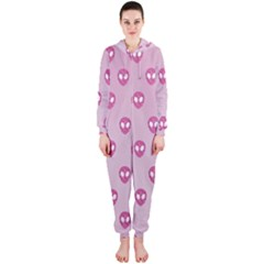 Alien Pattern Pink Hooded Jumpsuit (ladies)