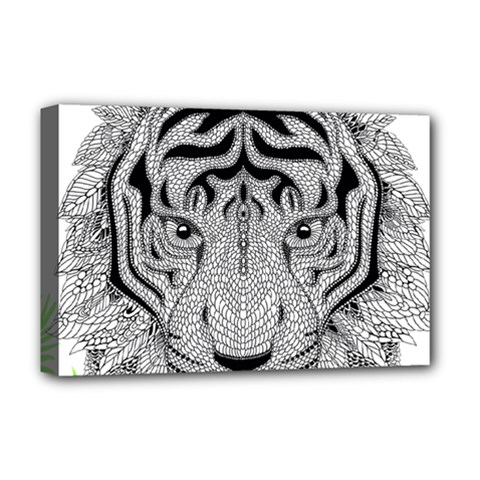 Tiger Head Deluxe Canvas 18  X 12   by BangZart