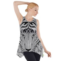 Tiger Head Side Drop Tank Tunic