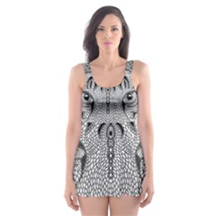Tiger Head Skater Dress Swimsuit