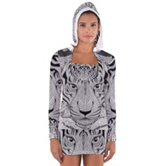 Tiger Head Long Sleeve Hooded T Shirt
