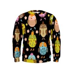 Cute Owls Pattern Kids  Sweatshirt