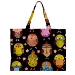 Cute Owls Pattern Zipper Mini Tote Bag