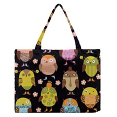 Cute Owls Pattern Medium Zipper Tote Bag