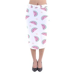 Watermelon Wallpapers  Creative Illustration And Patterns Velvet Midi Pencil Skirt by BangZart