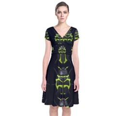 Beetles Insects Bugs Short Sleeve Front Wrap Dress
