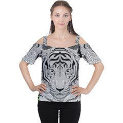 Tiger Head Cutout Shoulder Tee by BangZart